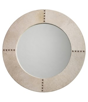 Round Cross Stitch Mirror in White Hide