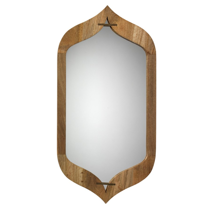 Jasmine Mirror in Natural Wood and Antique Brass