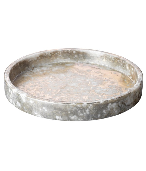 Lg Marble Silver and Gold Low Bowl
