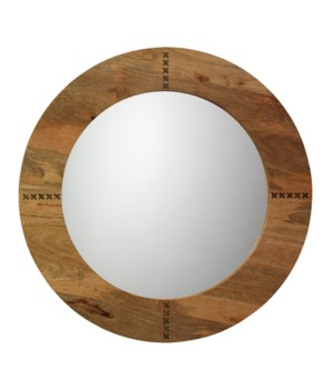 Owen Mirror in Natural Wood and Antique Brass