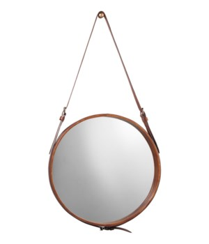 Sm Round Mirror in Chocolate Leather