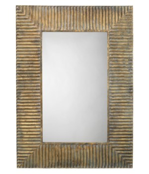 Slatted Mirror in Antique Brass Patina