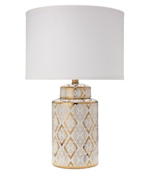 Astrid Table Lamp in Gold and White Ceramic