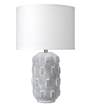 Boulder Grey Crackled Ceramic Table Lamp, Classic Drum Shade
