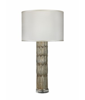 Carved Column Table Lamp in Silver Resin w Classic Drum Shade