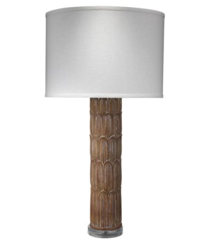 Carved Column Table Lamp in Natural Wood