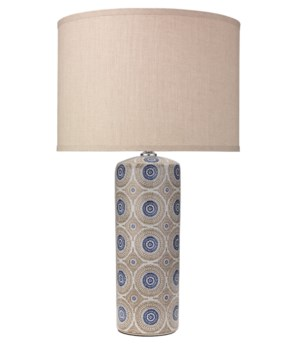 Fiona Blue and Natural Patterned Ceramic Table Lamp, Clasic Drum Shade