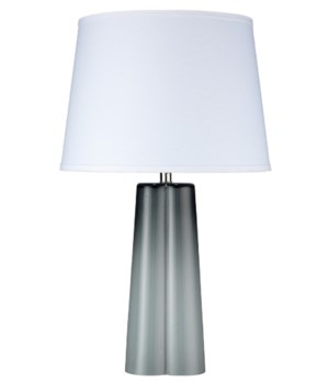 Quatrefoil Table Lamp in Cool Grey Glass