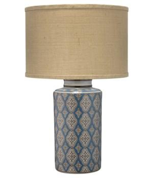Verona Table Lamp in Blue Pattern Ceramic