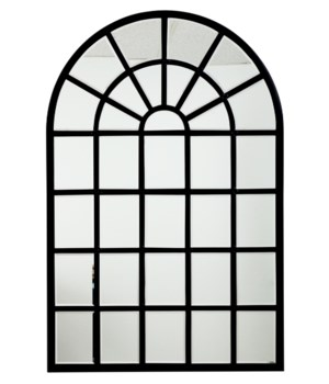 Harlem Mirror in Black Metal and Beveled Glass