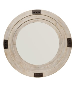 Foreman Mirror in White Washed Wood