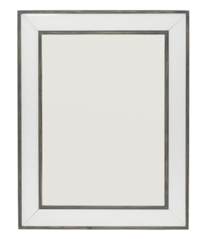 Brinkley Mirror in White Glass and Grey Washed Wood