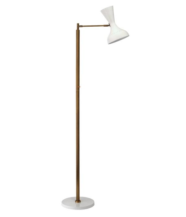Pisa Swing Arm Floor Lamp, White with Antique Brass
