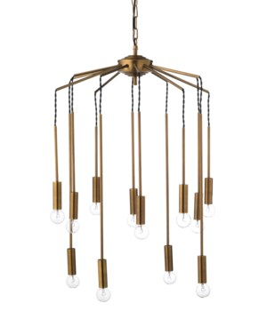 Cascade Chandelier, Antique Brass