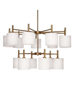 Ellis 2 Tier Chandelier, Antique Brass