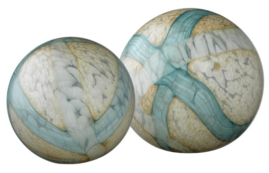 Cosmos Glass Balls, Pale Blue, Set of 2