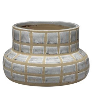Grid Ceramic Vase, Grey