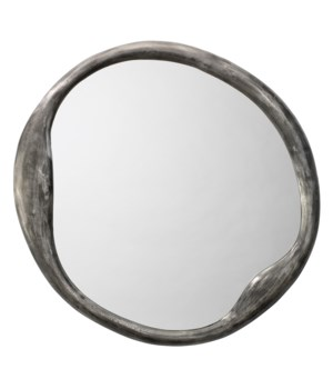 Organic Round Antique Iron Wall Mirror