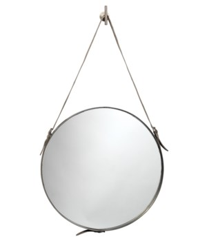 Large Round Mirror, Antique Silver
