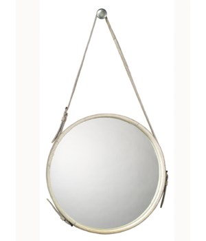 Large Round Hanging Mirror, White Hide