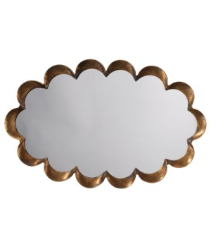 Scalloped Mirror, Antique Brass