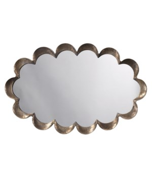 Scalloped Mirror, Antique Silver