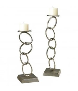 Silver Leaf Chain Candleholders, S/2