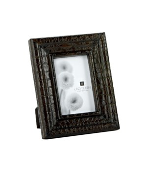 Chocolate Faux Crocco Frame, 4x6