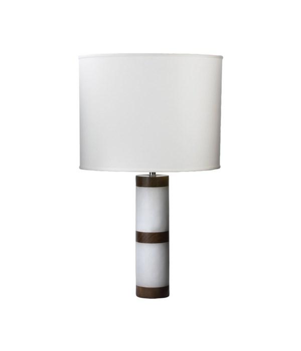 Alabaster and Sheesham Column Lamp with White Shade