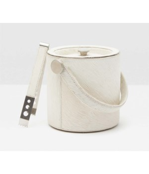 Browmley White Hide on Hide Ice Bucket with Tongs