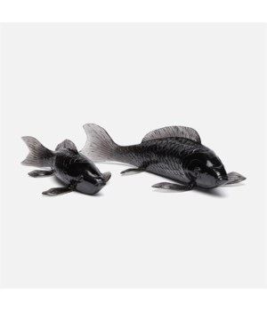 Koi Fish, Light Gray Resin, Set of 2