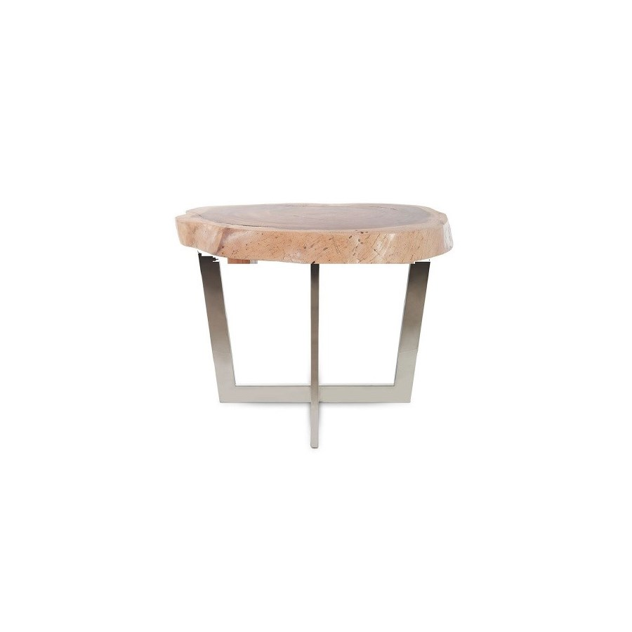X Stainless Steel Dining Table Base, Chamcha Wood Round Top