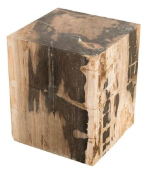Petrified Wood Stool, Square Full Polish