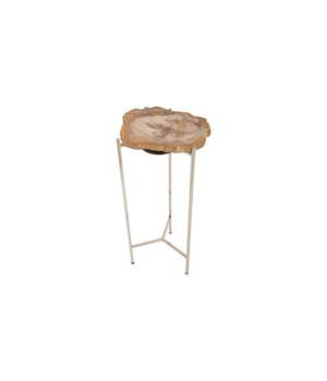 Petrified Wood Side Table, Off White, Large