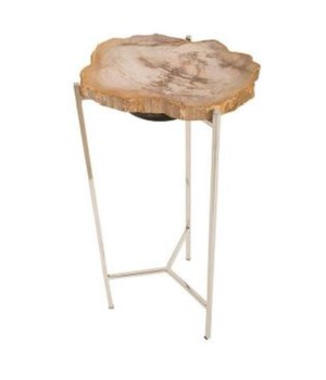 Petrified Wood Side Table, Off White, Medium