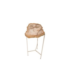 Petrified Wood Side Table, Off White, Small