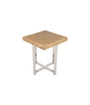 Onyx Accent Table, Stainless Legs, Square