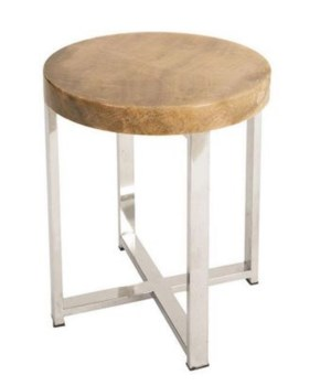 Onyx Accent Table, Stainless Legs, Round