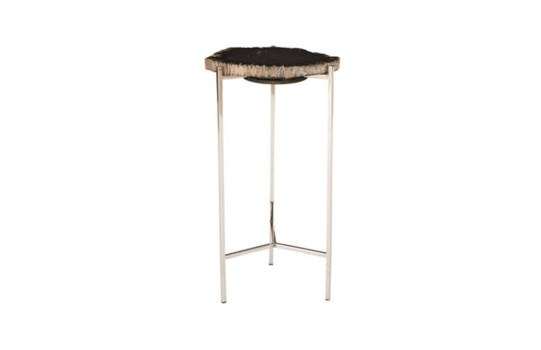 Petrified Wood Side Table, Black, Small