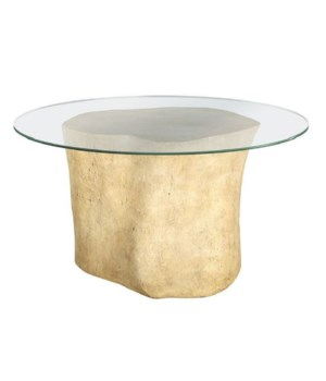 Log Table Base, Glass Top, Roman Stone