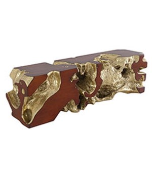 Freeform Bench, Gold Leaf, Faux Bois