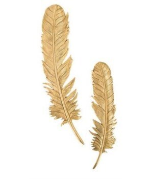 Feathers Wall Art, Gold Leaf, Set of 2