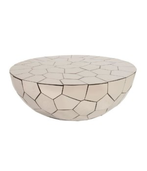 Crazy Cut Coffee Table, SS and Black Grout, Round