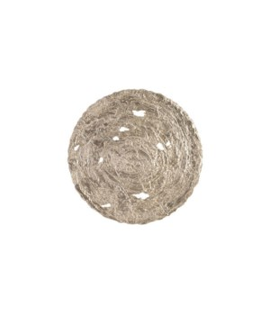 Molten Disc Wall Art, Silver Leaf, Large