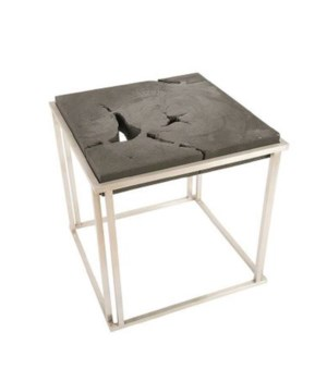 Burnt Block Side Table, Stainless Steel Base