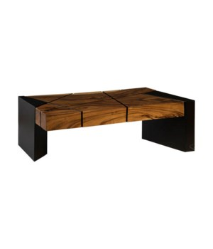 Chamcha Wood Coffee Table, Iron Legs