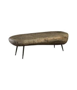 Skipping Stone Coffee Table, Grey Stone, Forged Legs