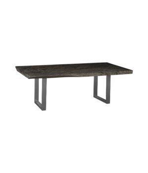 Chamcha Wood Dining Table, Brushed Stainless Steel Legs