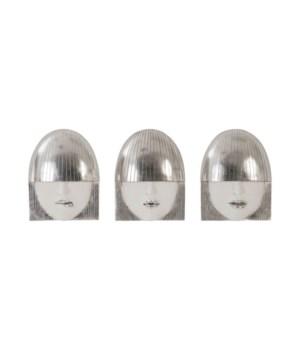 Fashion Faces, Silver, Set of 3