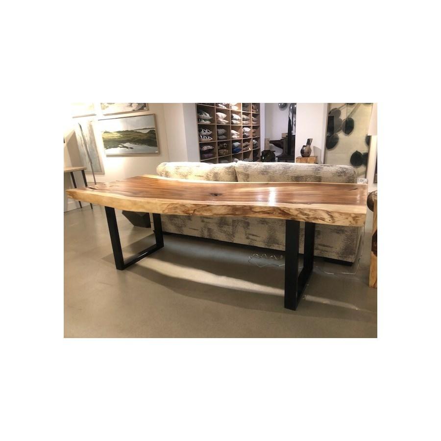 Chamcha Wood Dining Table, Black Metal U Legs